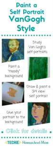 VanGogh painted over 30 self portraits. With this art lesson, kids study Van Gogh's self portraits and paint their own.