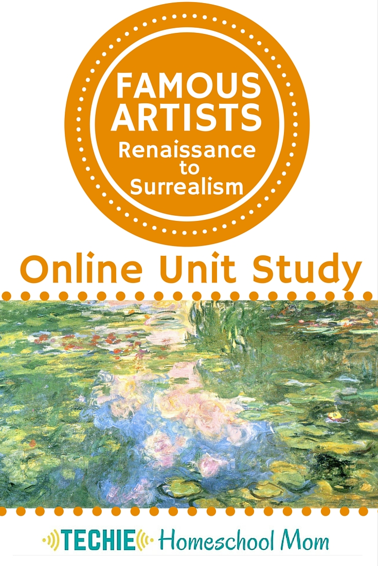 "Famous Artists Online Unit Study homeschool curriculum. Explore the meaning of ""art"". Study 10 renowned and art movements from Renaissance to Surrealism. Watch videos and visit websites to learn about the artists' lives and styles. Create your own masterpieces inspired by each artist. And design a virtual art gallery to share what you've learned."