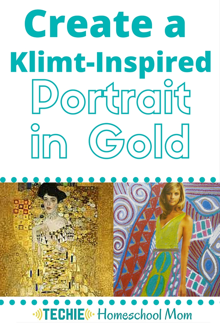 "Learn more about Art Nouveau painter Gustav Klimt's ""Portrait of Adele Boch Bauer"" with this homeschool art lesson. Includes discussion questions for the movie ""Woman in Gold"" and a Klimt-inspired art project."