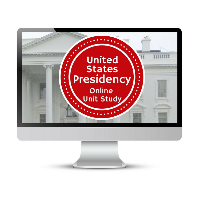 US Presidency Unit Study. This homeschool curriculum integrates multiple subjects for multiple ages of students. Access websites and videos and complete digital projects. With Online Unit Studies' easy-to-use E-course format, no additional books and print resources are needed. Just gather supplies for hands-on projects and register for online tools.