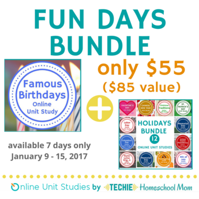 Plan fun homeschool days with Online Unit Studies' Fun Days Bundle. Available 7 days only!