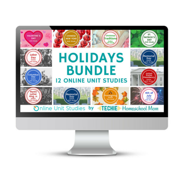 Celebrate 12 holidays with Online Unit Studies.