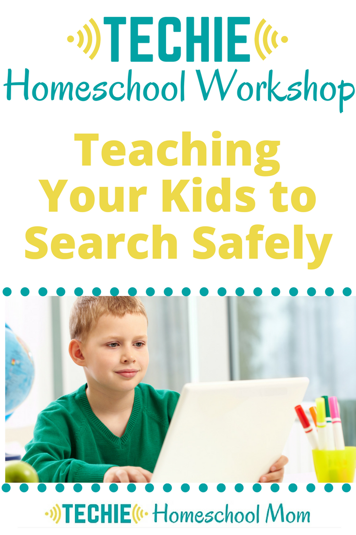 It's crucial that you teach your kids how to use online resources for homeschooling. This Techie Homeschool Workshop gives some tips for Teaching Your Kids to Search Safely Online. I show three ways to search within trusted websites, including setting up custom search engines. Plus, I share some tips for being safe when using typical search engines.