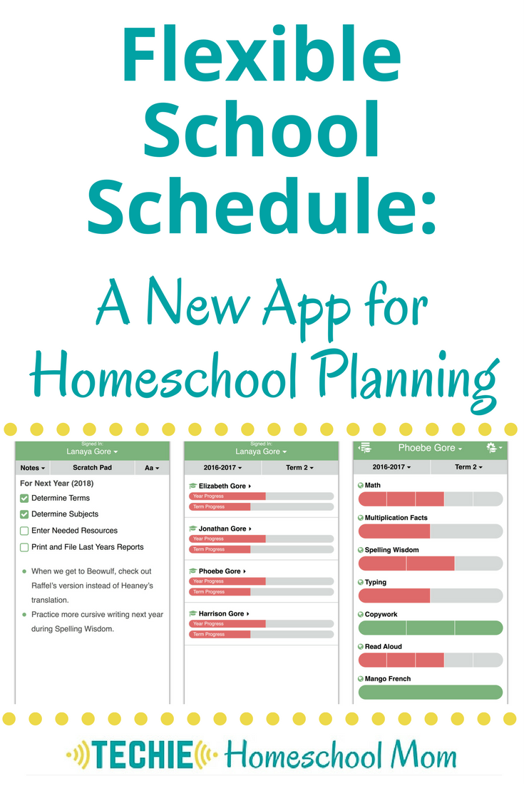 Flexible School Schedule planning app for homeschoolers
