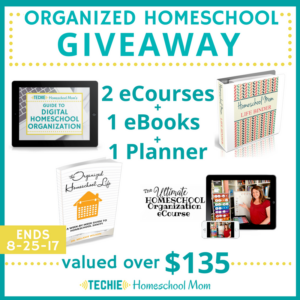 Organized Homeschool Giveaway. Tons of tips and resources for organizing your homeschool. Enter to win through August 25, 2017.