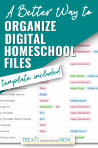 Learn how to keep track of all your homeschool links and digital files. Get a free template to take your digital homeschool organization to a new level.