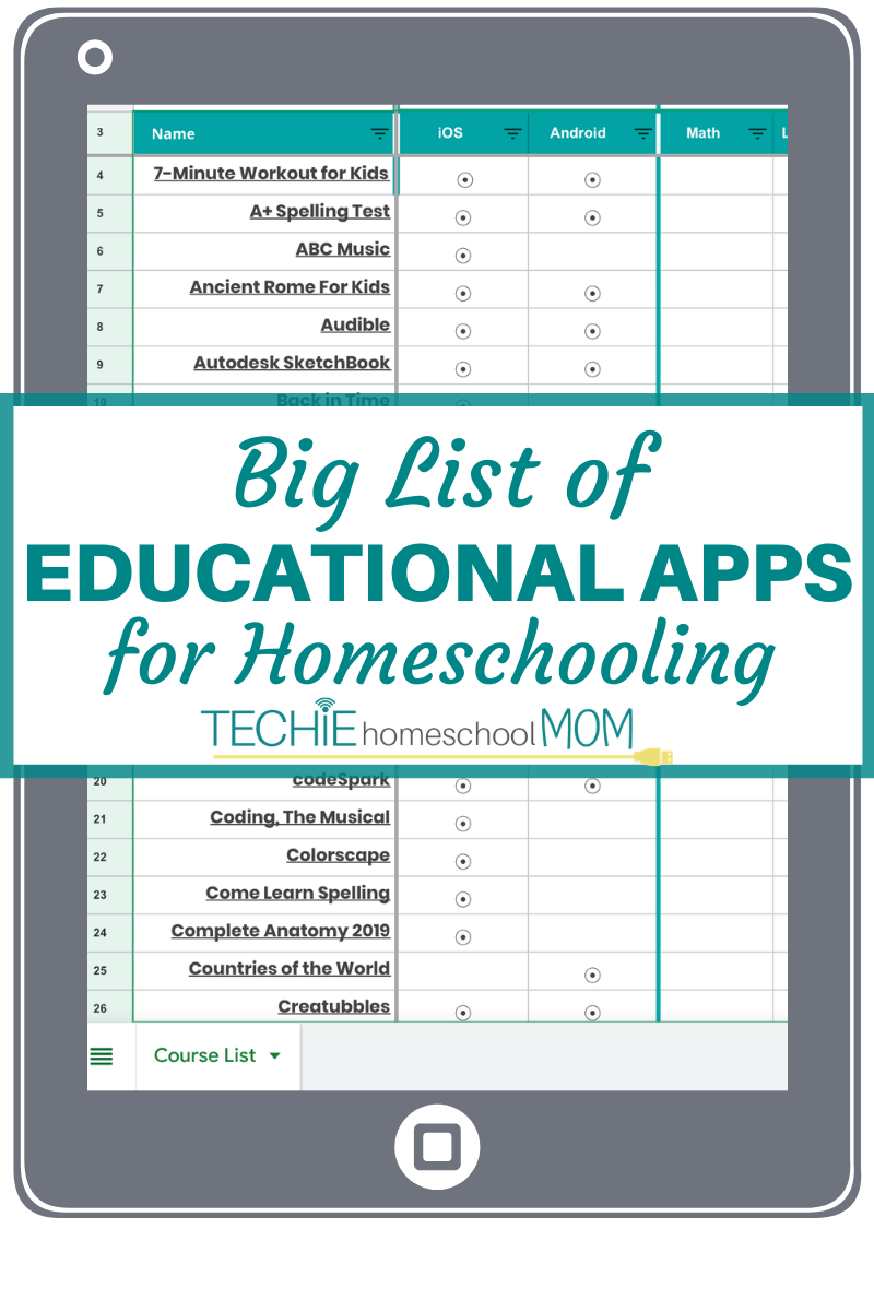 Download an extensive list of educational apps that you can use for homeschooling.