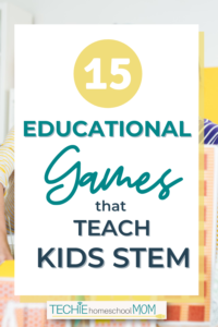 "Have you been looking for some fun ways to teach STEM in your homeschool, without being online? Check out this list of 'unplugged"" educational games that teach STEM. It's so cool that my techie kids can still learn science, technology, engineering and math concepts with hands-on play."